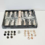 Vintage Old Real Marble And Onyx Backgammon Set Game Board Dice Checkers 1960s