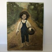 Vnt Original Oil Painting Folk Art On Canvas Boy Going Fishing By A E Contreras