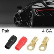 1 Pair Car 4 Gauge Ring Terminal Adapter Round Connector For Speaker Wire