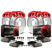 Kc1715 Powerstop Brake Disc And Caliper Kits 4-wheel Set Front And Rear New