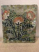 Mosaic Wall Art Stained Glass Hand Cut Pieces Flowers In A Graden Glass Art Vtg