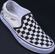 Off The Wall Slip-on Checker Black White Canvas Women Sk8 Shoes Size 8