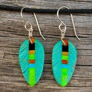 Native American Jewelry-turquoise And Inlay Feather Earrings-santo Domingo-chavez