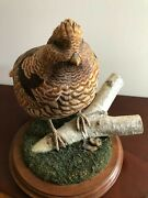 Ruffed Grouse Decorative Wood Decoy Hand Carved And Painted