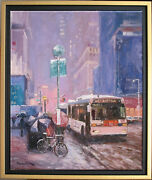 Winter In New York Citylisted Artistoriginal Oil Painting By Marc Forestier