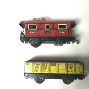 Marx Tinplate Railroad N.y.c Central Lines Caboose Baltimore Ohio O Gauge Lot 2
