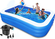 Family Inflatable Swimming Pool - 120 X 72 X 24 Kiddie Pool With Air Pump