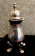 Solid Silver Pepper Pot Pepperette Shaker Four Footed Vintage Circa 1962