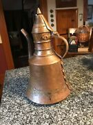 Middle Eastern Hand Hammered Copper Ewer/pitcher With Lid Turkish, Arab