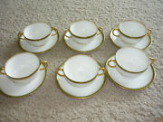 Set Of 6 Cream Soups And Saucers Jean Pouyat Limoges 1890-1902 Excellent