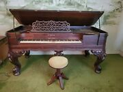 Antique 1876 Waters Square Grand Piano. Rosewood And Brass 7and039 L X 3and0398 W