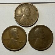 1918 P D S Lincoln Wheat Cents Set Of 3 -one From Each Mint -volume Discount