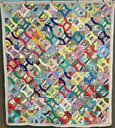 Amazing Pa Snail Trail Quilt Feedsacks Vintage Farmhouse Find Colorful