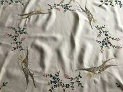 Vintage Embroidered Tablecloth Dove Of Peace Floral Broderie Anglaise 48 X 49in