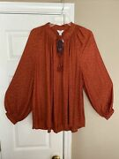 Crown And Ivy Woman's Rust Print Long Sleeve Peasant Blouse Plus Size 1x Tassels