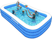 Evoio Inflatable Swimming Pool, Kiddie Pool, Blow Up Family Pool, Rectangle Pool