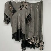Spencer Alexis 14 Embroidered Embossed Maxi Skirt Top Lace Velvet Burnout L Xl
