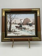 C Carson Oil Painting Andldquoamish Winter Landscapeandrdquo Framed 14x12 Wood And Brass Frame