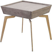 Dimond Home 164-002 Larocca End Or Side Table Soft Gold/grey Birch Veneer