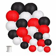 24pcs Round Paper Lanterns For Wedding Birthday Party Baby Showers Black/red