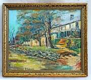 Vintage Impressionist Original Painting Country House On Overlook Marrion