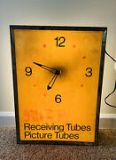 Vintage 1950s Rca Radio Electron Tubes Lighted Advertising Clock Sign