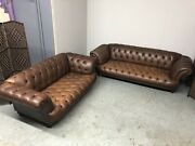 Chesterfield St Edmund Vintage 4+3 Seater Club Sofas - Antique Brown Leather