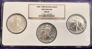 1986 - 1987 - 1988 - American Silver Eagle Ngc Ms69 3-coin Multi Holder Set