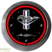 Ford Mustang Red Auto 15 Neon Wall Clock Glass Face Chrome Plate Warranty New