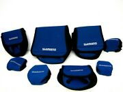 Lot Of 8 Shimano Blue Soft Padded Fishing Reel Covers 4 Baitcast 4 Other