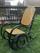 Vintage Thonet Style Bentwood Wicker Rocking Chair- Black - Made In Spain