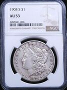 1904-s Morgan Silver Dollar Ngc Au53 Silver Color Some Luster Just Graded G704