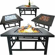 Outdoor Fire Pit Set - Fire Bowl Heater Bbq Ice Pit 32 Inch Square