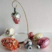 Mixed Lot Of 7 Vtg Mercury Glass Ornaments Grape Clusters And Pinecones