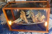 Massive Antique Hand Made Sailing Ship Encased In Wood And Glass Case