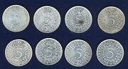 Germany 5 Mark Silver Coins 1967-f 1968-d 1968-f 1968-g Group Lot Of 8