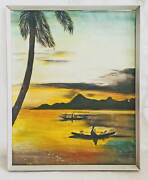 Tropical Naive Vintage Original Painting Night Fishing Outrigger Canoe Miller