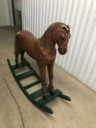 Antique Wooden Rocking Horse With Horse Hair Tail And Leather Bridleandnbsp