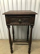 Antique Carved Oak Side Table With Drawer