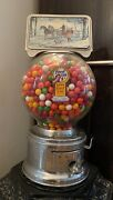 Ford Gum - 1 Cent Gumball Machine - Vintage, Glass Globe, W/ Topper