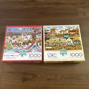 Lot Of 2 New Charles Wysocki 1000 Pc Puzzles Holiday Collection / Gambling Hall