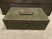 Antique Falls City Green Metal Fishing Tackle Box - Made In Usa - Worn/used