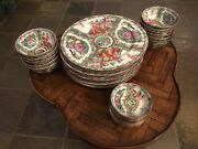 Vintage Japanese Porcelain Ware By A.c.f. Decorated In Hong Kong, 48pc Set.