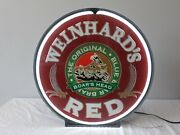 Weinhard's Blue Boar Red Beer Neon Light Rotating Spinning Advertisement Sign