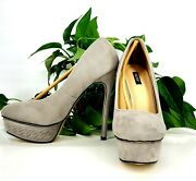 Vices - Ladies Suede High Heel Pumps Shoes - Gray, 7.5
