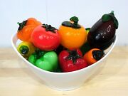 11 Decorative Hand Blown Murano Style Glass Fruit And Vegetables