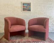 Mid Century Modern / Post Modern Pink Lounge / Club Chairs / Armchairs, A Pair