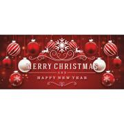 Red Ornaments 7 X 16 Ft Snow Christmas Double Car Garage Door Outdoor Decoration