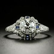 2.6ct Diamond Victorian Engagement Magnificent Circa Ring 14k White Gold Over