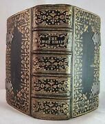 1672 Holy Bible / Finest Ornate Gilt Leather Binding / Pocket Bible / Wow